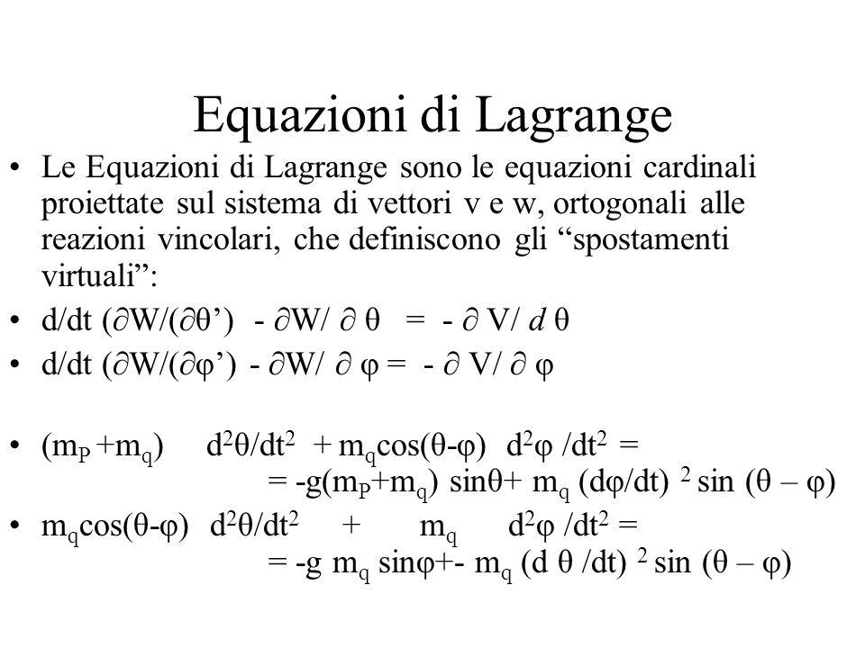 Equazioni di Lagrange Le Equazioni di Lagrange sono le equazioni cardinali proiettate sul sistema di vettori v e w, ortogonali alle reazioni vincolari