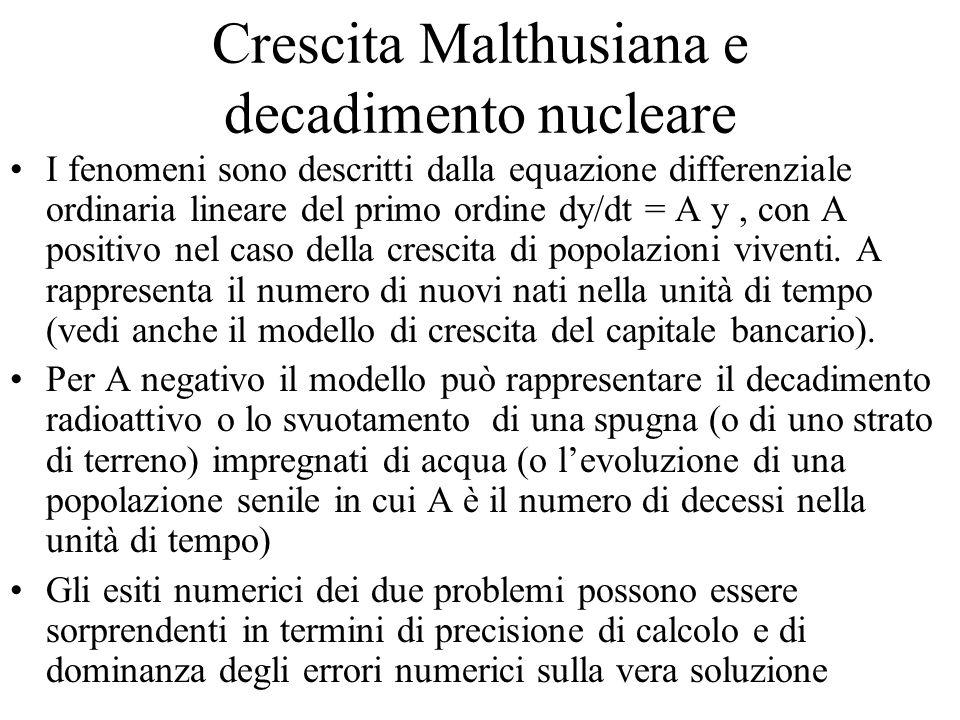 Crescita Malthusiana e decadimento nucleare I fenomeni sono descritti dalla equazione differenziale ordinaria lineare del primo ordine dy/dt = A y, co