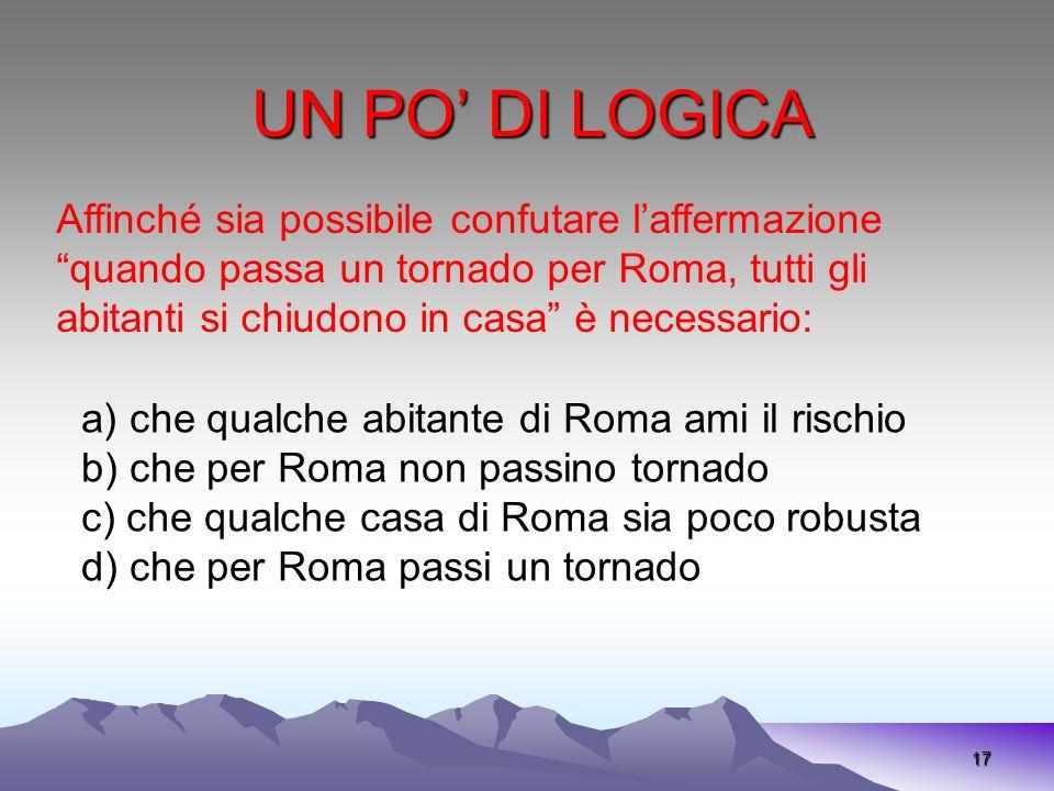 UN PO DI LOGICA 17 Affinché sia possibile confutare laffermazione quando passa un tornado per Roma, tutti gli abitanti si chiudono in casa è necessari
