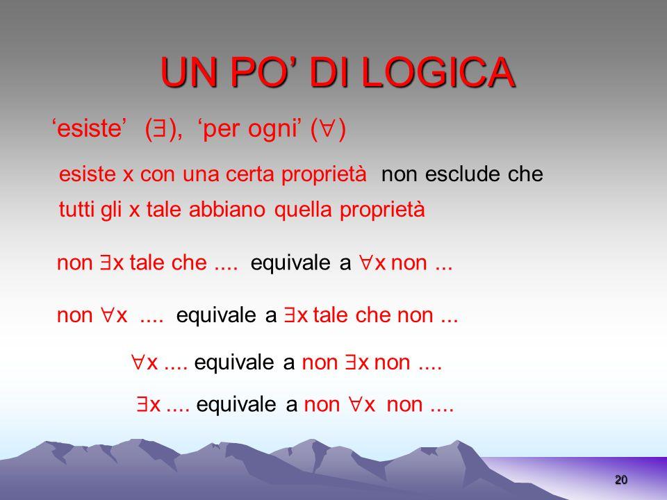 UN PO DI LOGICA 20 esiste ( ), per ogni ( ) non x tale che.... equivale a x non... non x.... equivale a x tale che non... esiste x con una certa propr
