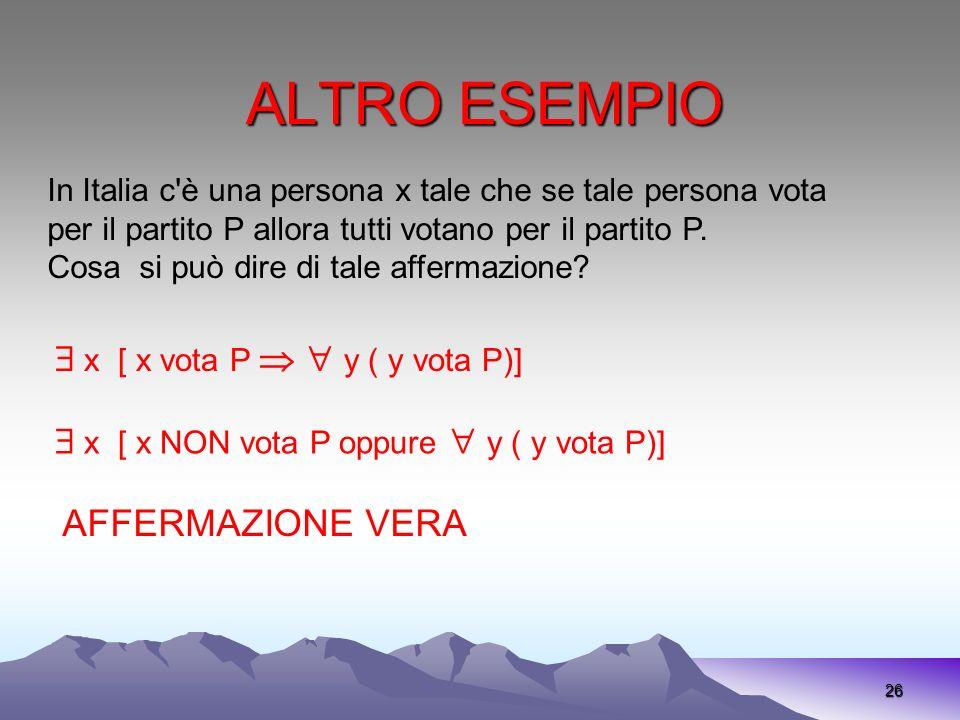 ALTRO ESEMPIO 26 In Italia c'è una persona x tale che se tale persona vota per il partito P allora tutti votano per il partito P. Cosa si può dire di