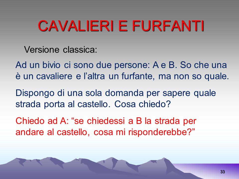 CAVALIERI E FURFANTI 33 Versione classica: Ad un bivio ci sono due persone: A e B. So che una è un cavaliere e laltra un furfante, ma non so quale. Di