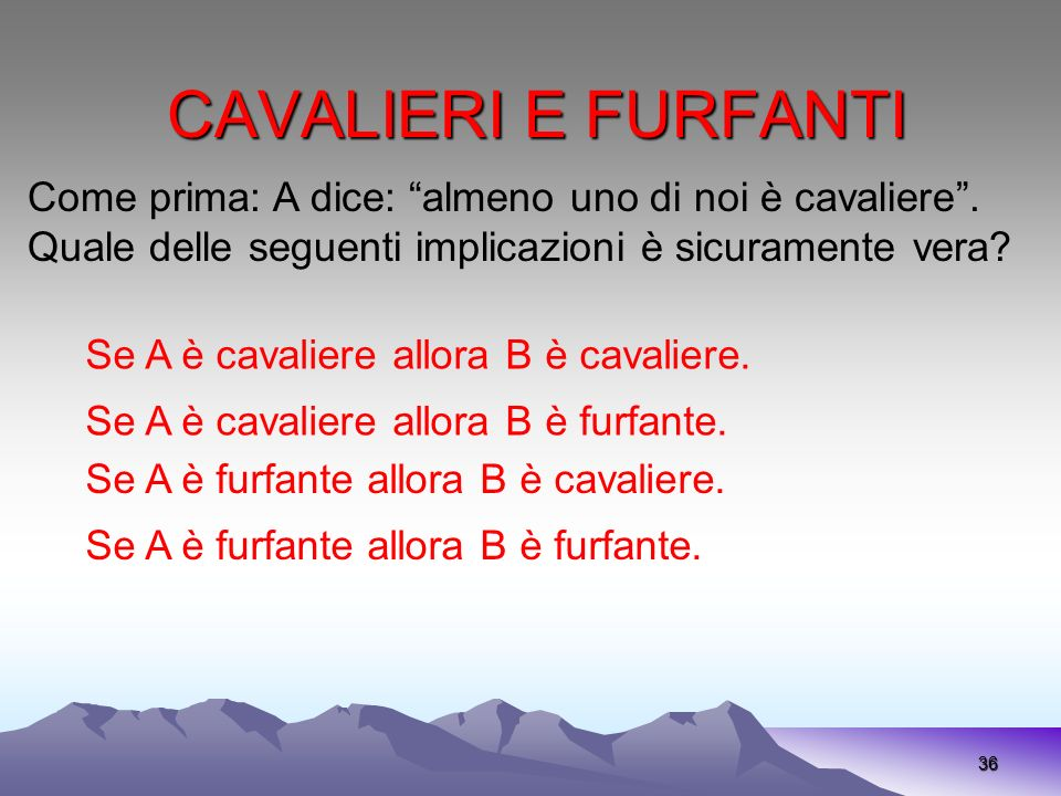 CAVALIERI E FURFANTI 36 Come prima: A dice: almeno uno di noi è cavaliere.