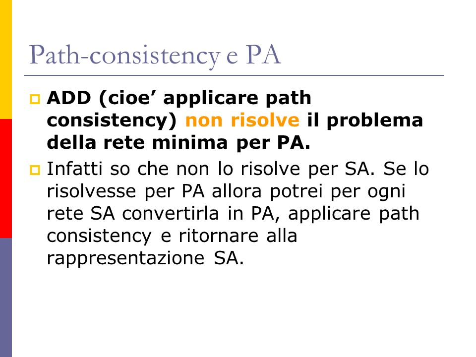 Path-consistency e PA ADD (cioe applicare path consistency) non risolve il problema della rete minima per PA. Infatti so che non lo risolve per SA. Se