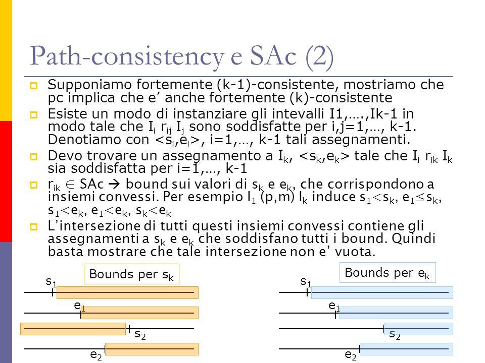 Path-consistency e SAc (2) Supponiamo fortemente (k-1)-consistente, mostriamo che pc implica che e anche fortemente (k)-consistente Esiste un modo di