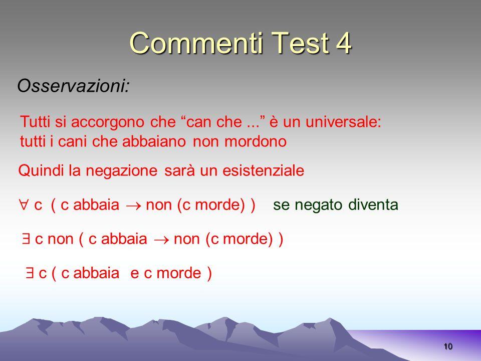 Commenti Test 4 10 Osservazioni: Tutti si accorgono che can che... è un universale: tutti i cani che abbaiano non mordono Quindi la negazione sarà un