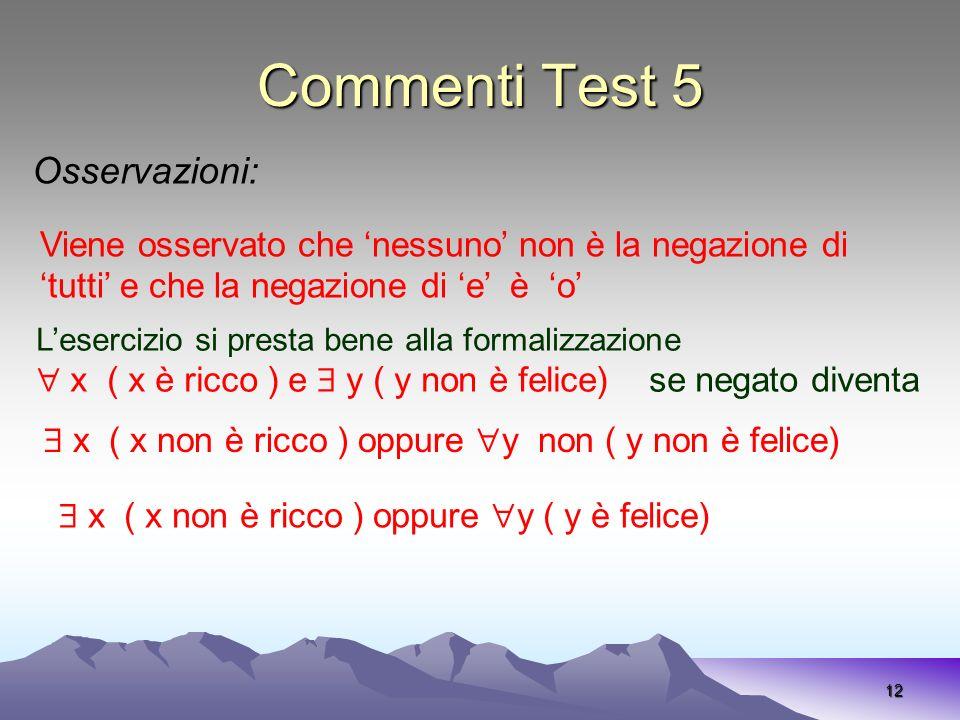 Commenti Test 5 12 Osservazioni: Viene osservato che nessuno non è la negazione di tutti e che la negazione di e è o Lesercizio si presta bene alla fo