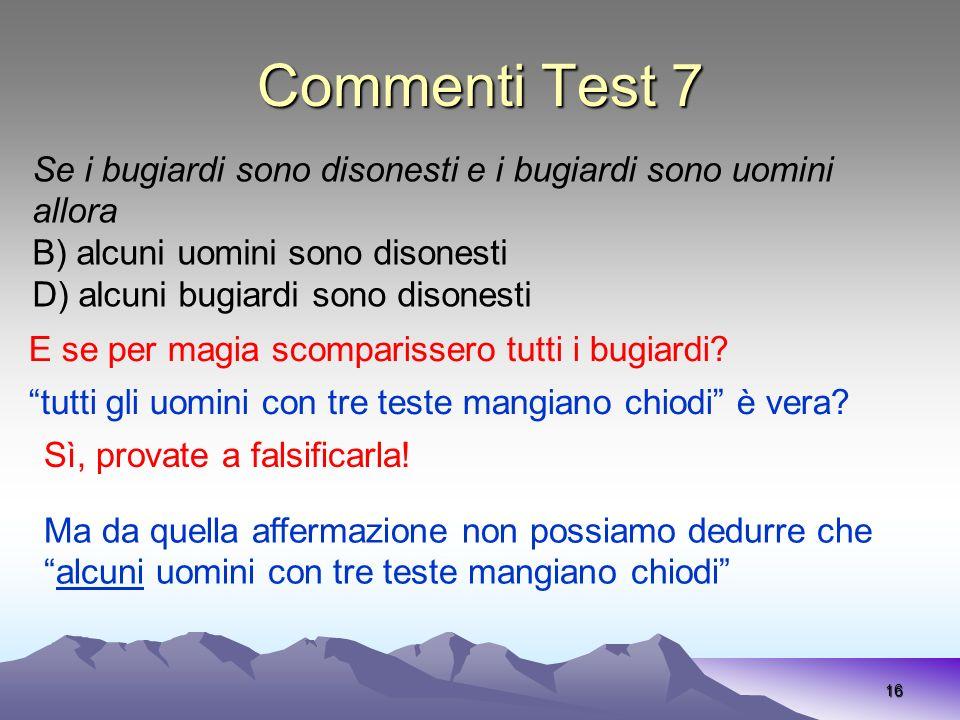 Commenti Test 7 16 Se i bugiardi sono disonesti e i bugiardi sono uomini allora B) alcuni uomini sono disonesti D) alcuni bugiardi sono disonesti E se