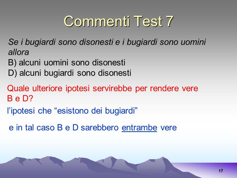 Commenti Test 7 17 Se i bugiardi sono disonesti e i bugiardi sono uomini allora B) alcuni uomini sono disonesti D) alcuni bugiardi sono disonesti Qual