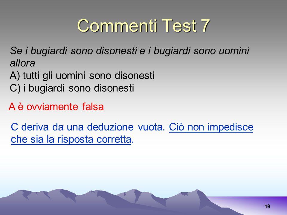 Commenti Test 7 18 Se i bugiardi sono disonesti e i bugiardi sono uomini allora A) tutti gli uomini sono disonesti C) i bugiardi sono disonesti A è ov