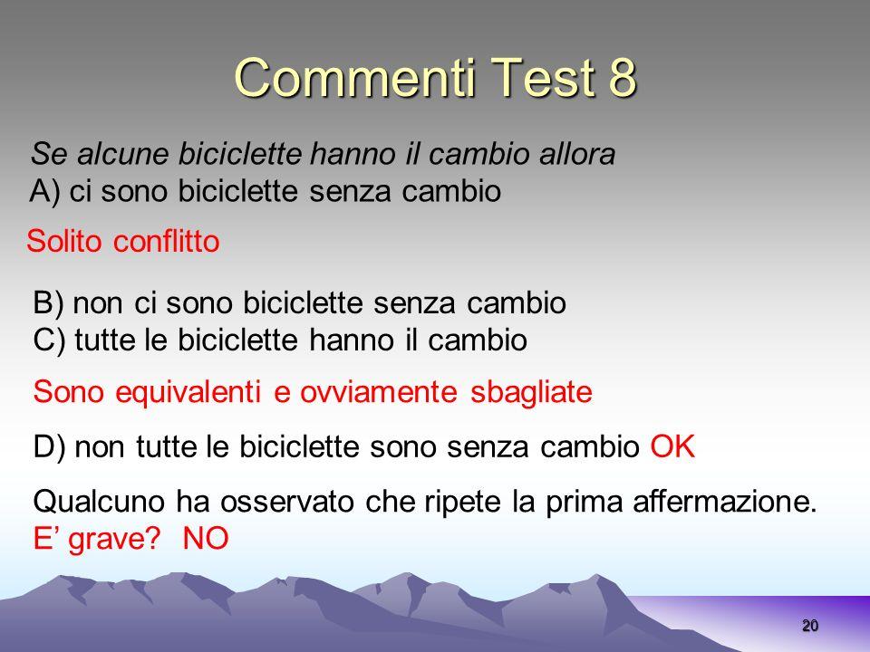Commenti Test 8 20 Se alcune biciclette hanno il cambio allora A) ci sono biciclette senza cambio Solito conflitto B) non ci sono biciclette senza cam
