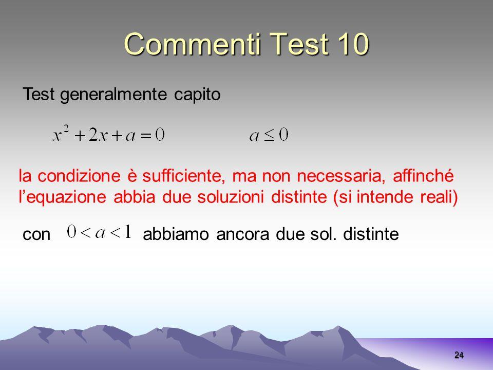Commenti Test 10 24 la condizione è sufficiente, ma non necessaria, affinché lequazione abbia due soluzioni distinte (si intende reali) Test generalme