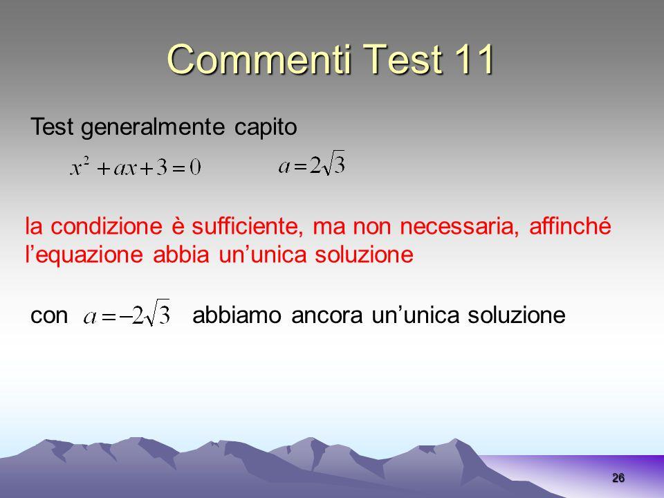 Commenti Test 11 26 la condizione è sufficiente, ma non necessaria, affinché lequazione abbia ununica soluzione Test generalmente capito conabbiamo an