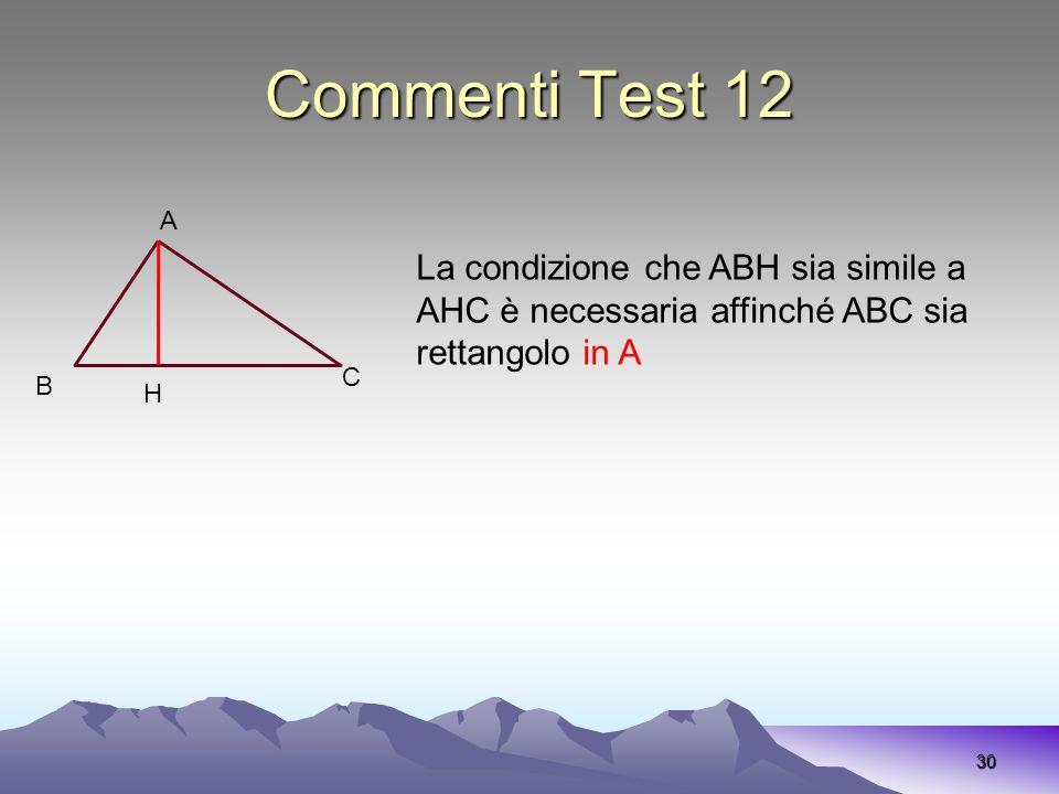 Commenti Test 12 30 A C B La condizione che ABH sia simile a AHC è necessaria affinché ABC sia rettangolo in A H