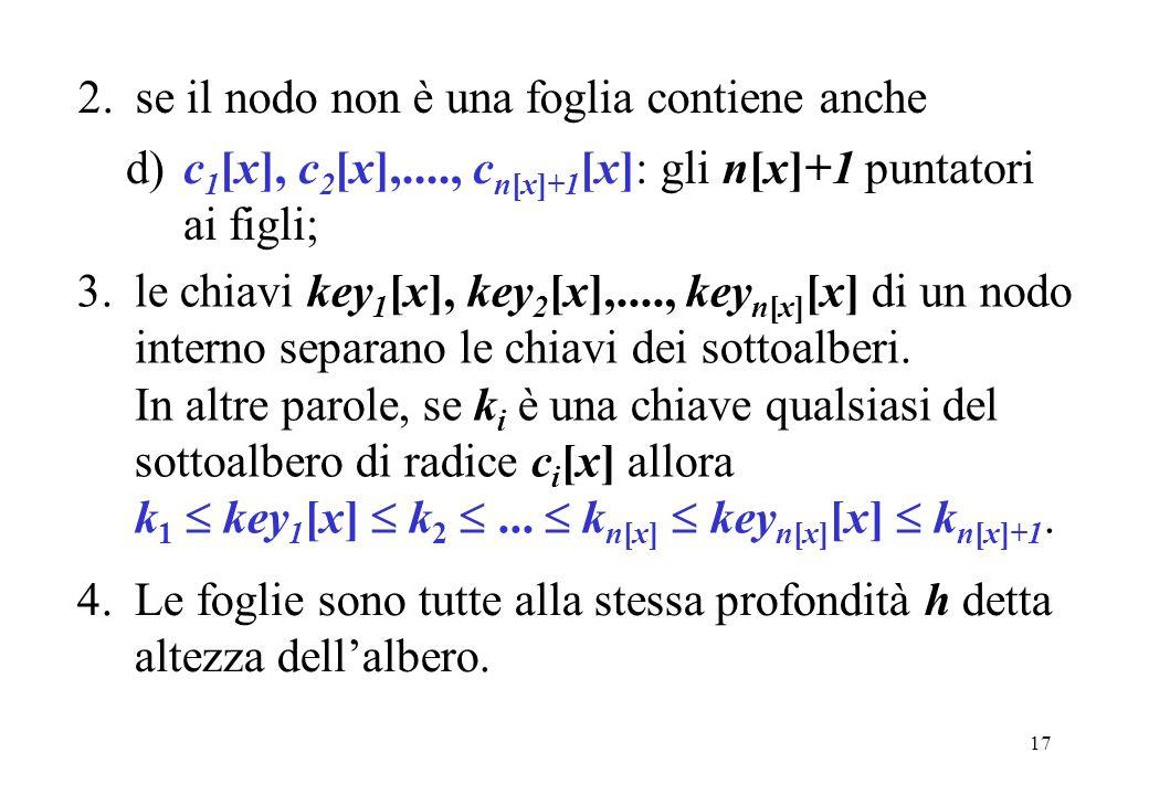 17 2.se il nodo non è una foglia contiene anche d)c 1 [x], c 2 [x],...., c n[x]+1 [x]: gli n[x]+1 puntatori ai figli; 3.le chiavi key 1 [x], key 2 [x],...., key n[x] [x] di un nodo interno separano le chiavi dei sottoalberi.