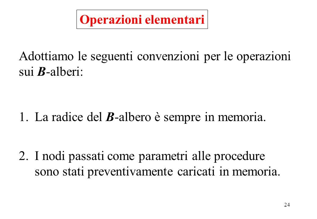 24 Operazioni elementari Adottiamo le seguenti convenzioni per le operazioni sui B-alberi: 1.La radice del B-albero è sempre in memoria.