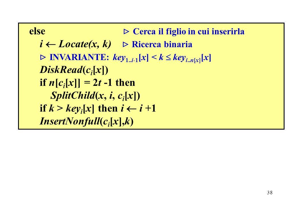 38 else Cerca il figlio in cui inserirla i Locate(x, k) Ricerca binaria INVARIANTE: key 1..i-1 [x] < k key i..n[x] [x] DiskRead(c i [x]) if n[c i [x]] = 2t -1 then SplitChild(x, i, c i [x]) if k > key i [x] then i i +1 InsertNonfull(c i [x],k)