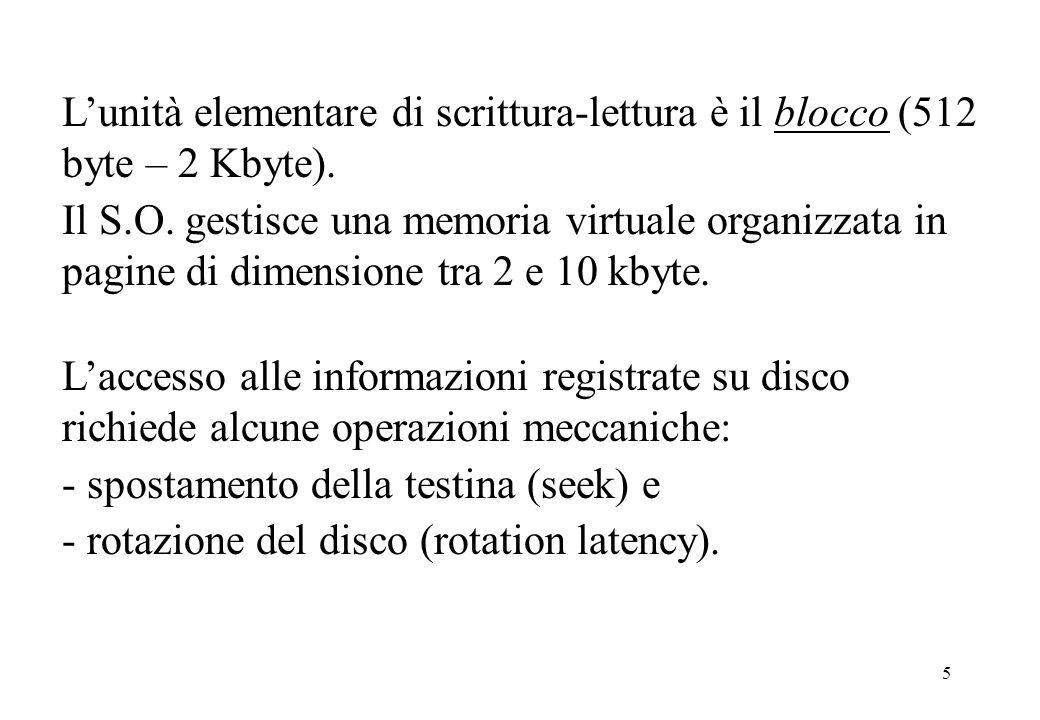 5 Laccesso alle informazioni registrate su disco richiede alcune operazioni meccaniche: - spostamento della testina (seek) e - rotazione del disco (rotation latency).