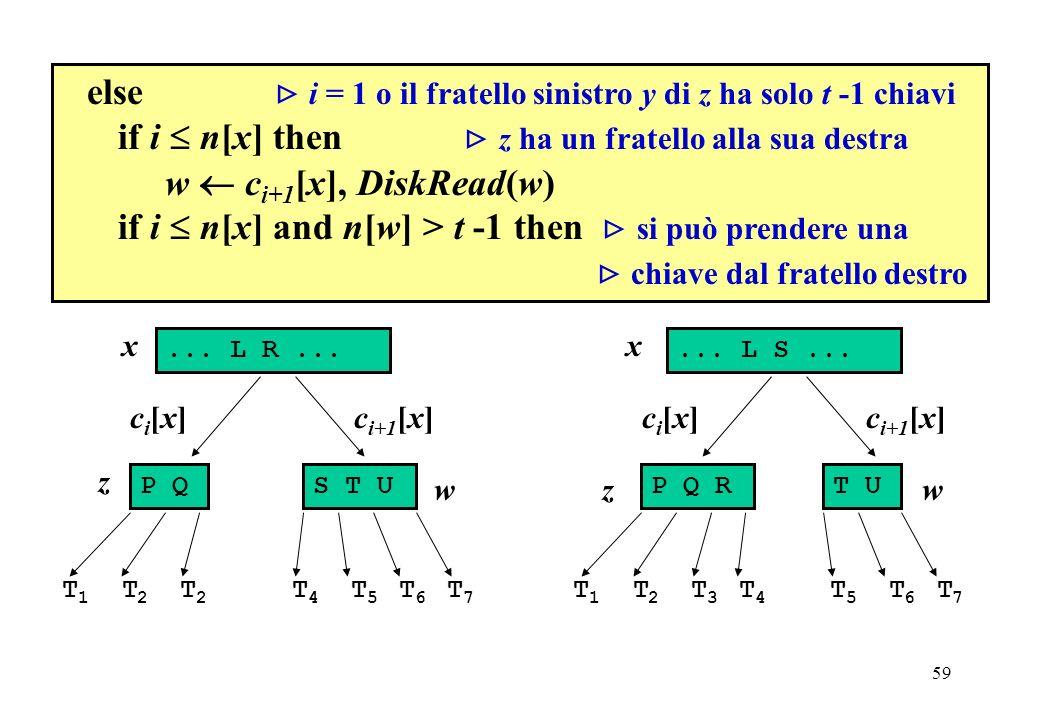 59 else i = 1 o il fratello sinistro y di z ha solo t -1 chiavi if i n[x] then z ha un fratello alla sua destra w c i+1 [x], DiskRead(w) if i n[x] and n[w] > t -1 then si può prendere una chiave dal fratello destro...