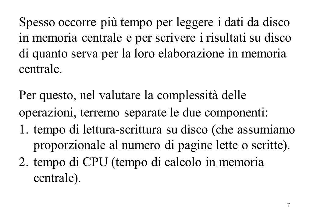 8 Loperazione di lettura da disco è: che, dato il riferimento x ad un oggetto, legge loggetto da disco in memoria centrale.