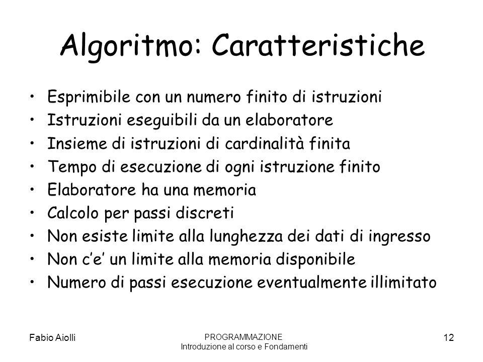 Algoritmo: Caratteristiche Esprimibile con un numero finito di istruzioni Istruzioni eseguibili da un elaboratore Insieme di istruzioni di cardinalità