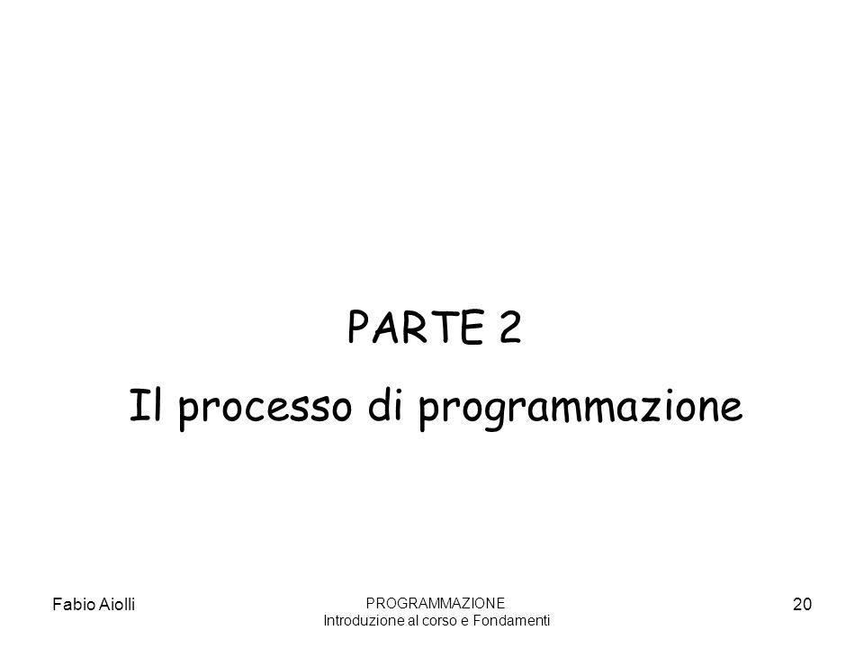 Fabio Aiolli20 PARTE 2 Il processo di programmazione PROGRAMMAZIONE Introduzione al corso e Fondamenti