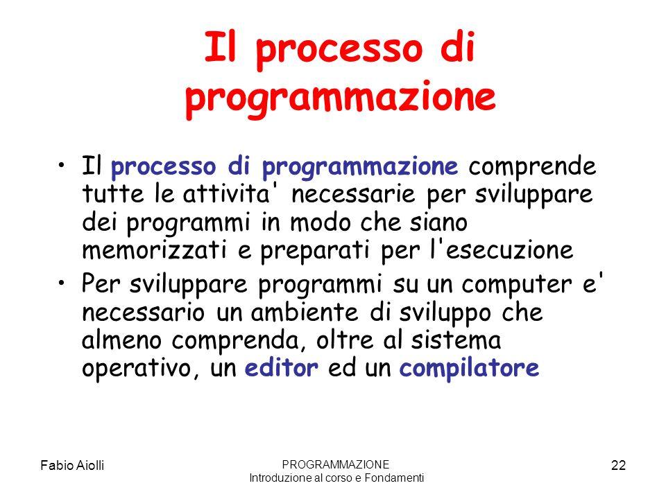 Fabio Aiolli22 Il processo di programmazione Il processo di programmazione comprende tutte le attivita' necessarie per sviluppare dei programmi in mod