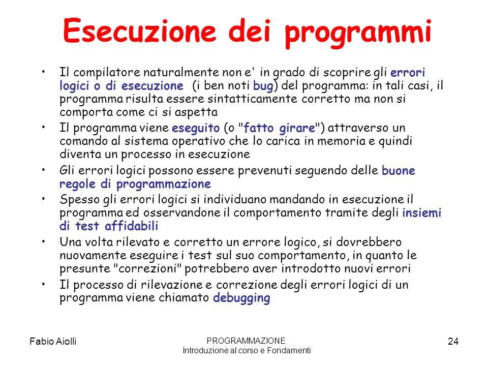 Fabio Aiolli24 Esecuzione dei programmi Il compilatore naturalmente non e' in grado di scoprire gli errori logici o di esecuzione (i ben noti bug) del