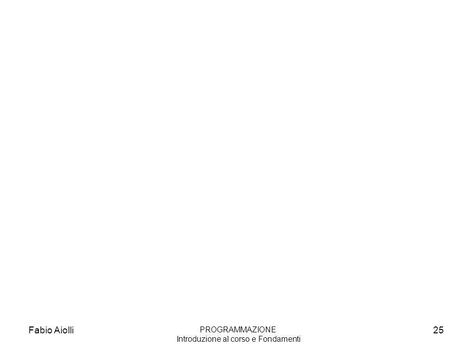 Fabio Aiolli25 PROGRAMMAZIONE Introduzione al corso e Fondamenti