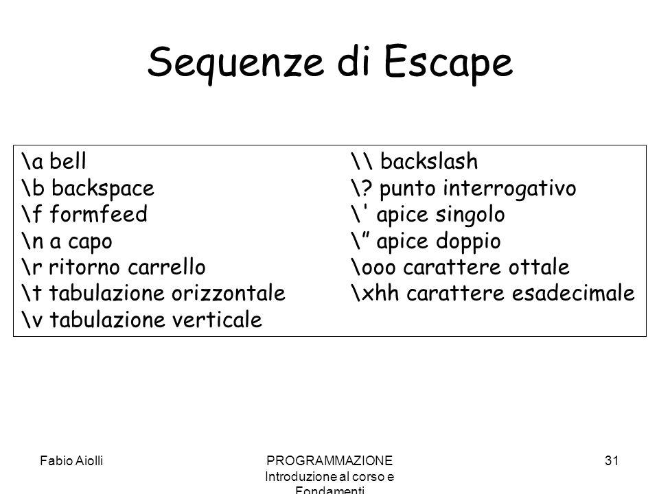Fabio AiolliPROGRAMMAZIONE Introduzione al corso e Fondamenti 31 Sequenze di Escape \a bell \\ backslash \b backspace \? punto interrogativo \f formfe