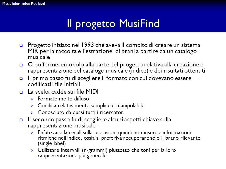 Music Information Retrieval Il progetto MusiFind Progetto iniziato nel 1993 che aveva il compito di creare un sistema MIR per la raccolta e lestrazion