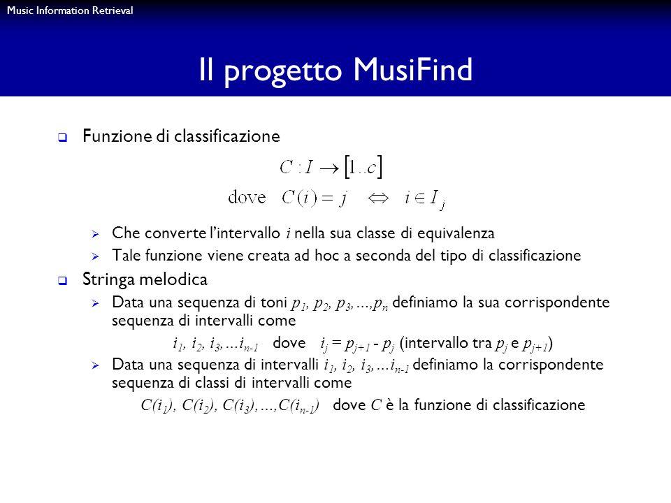 Music Information Retrieval Il progetto MusiFind Funzione di classificazione Che converte lintervallo i nella sua classe di equivalenza Tale funzione