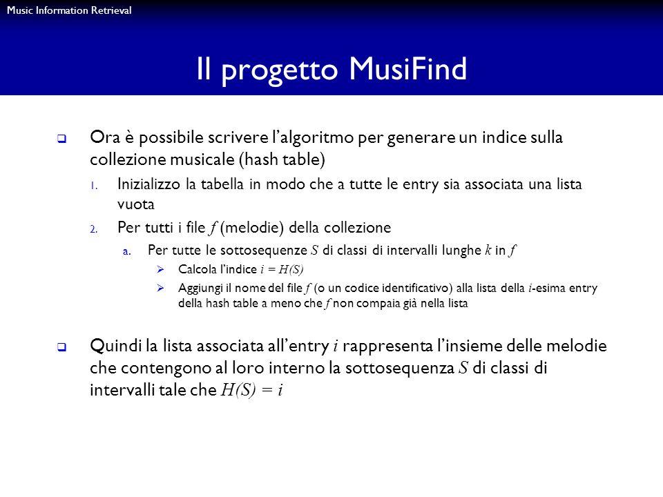 Music Information Retrieval Il progetto MusiFind Ora è possibile scrivere lalgoritmo per generare un indice sulla collezione musicale (hash table) 1.