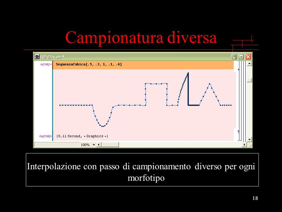 18 Campionatura diversa Interpolazione con passo di campionamento diverso per ogni morfotipo