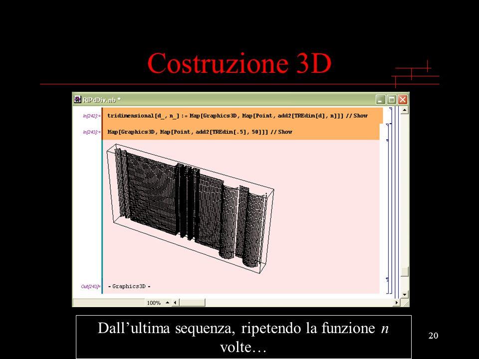 20 Costruzione 3D Dallultima sequenza, ripetendo la funzione n volte…