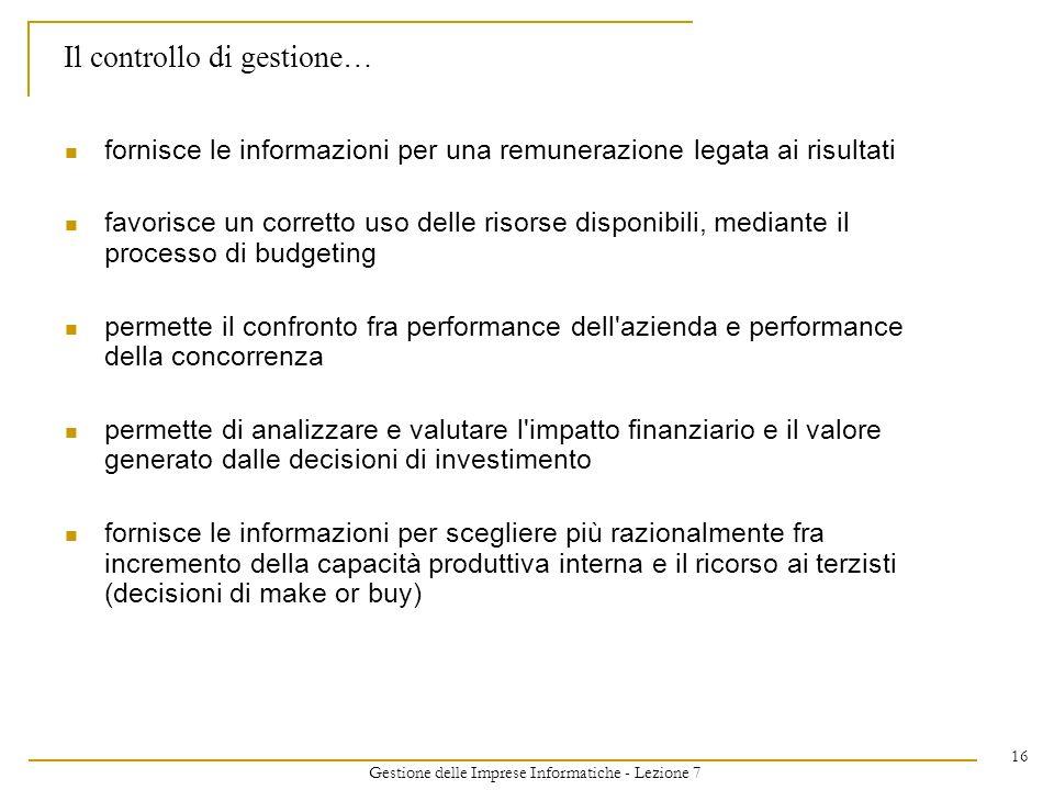 Gestione delle Imprese Informatiche - Lezione 7 16 Il controllo di gestione… fornisce le informazioni per una remunerazione legata ai risultati favori