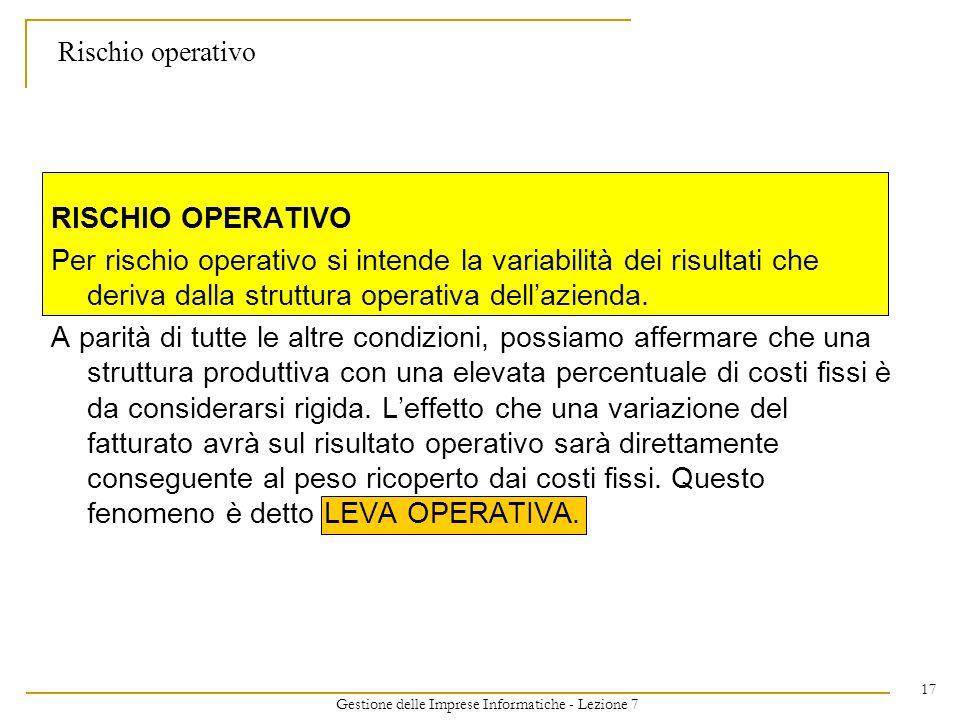 Gestione delle Imprese Informatiche - Lezione 7 17 Rischio operativo RISCHIO OPERATIVO Per rischio operativo si intende la variabilità dei risultati che deriva dalla struttura operativa dellazienda.
