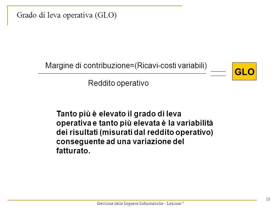 Gestione delle Imprese Informatiche - Lezione 7 18 Grado di leva operativa (GLO) Margine di contribuzione=(Ricavi-costi variabili) Reddito operativo G