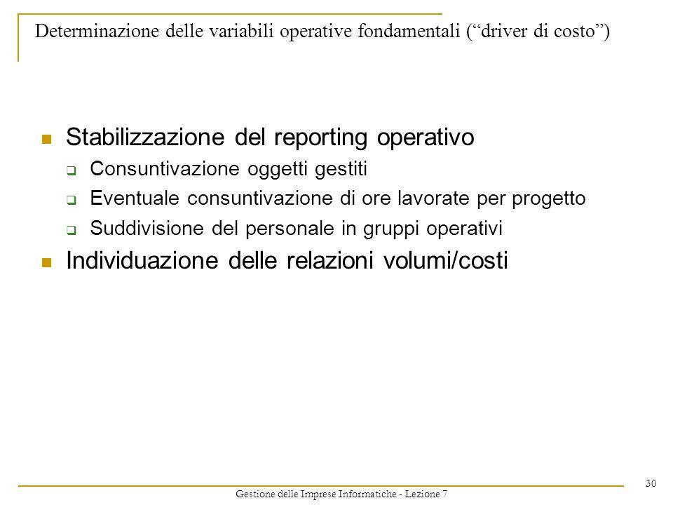 Gestione delle Imprese Informatiche - Lezione 7 30 Determinazione delle variabili operative fondamentali (driver di costo) Stabilizzazione del reporti