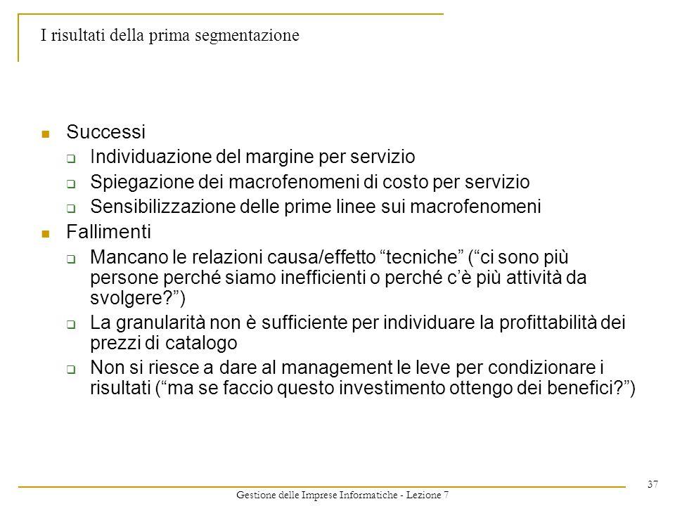 Gestione delle Imprese Informatiche - Lezione 7 37 I risultati della prima segmentazione Successi Individuazione del margine per servizio Spiegazione