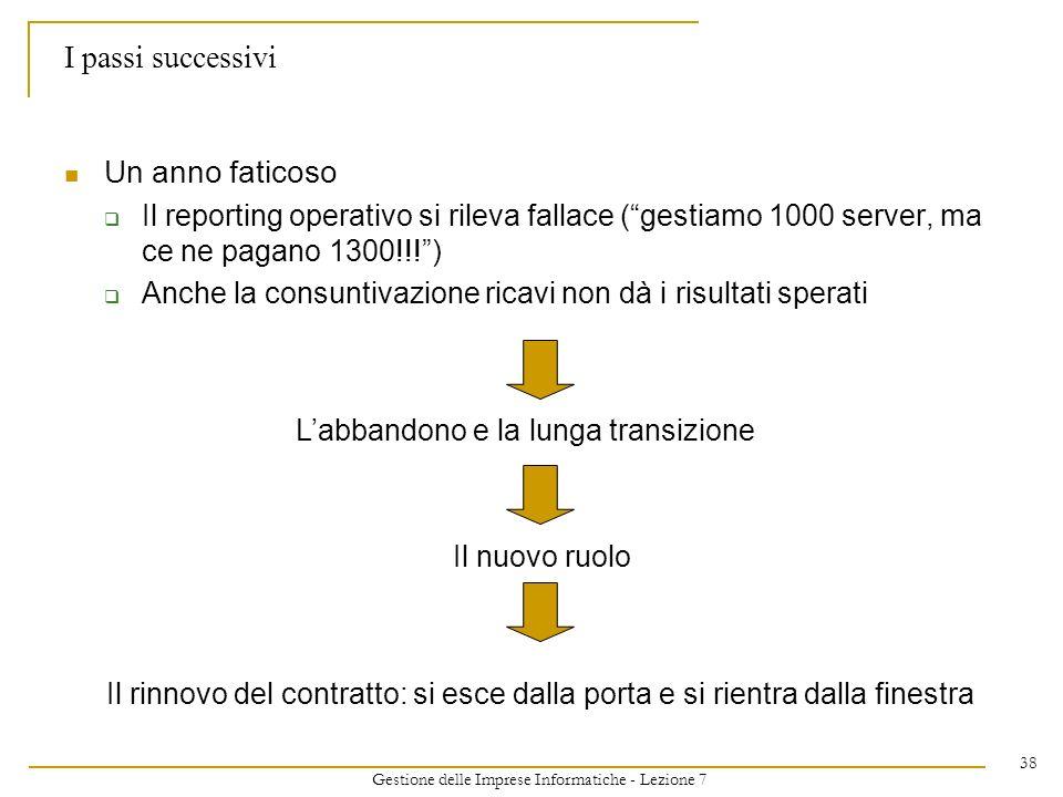 Gestione delle Imprese Informatiche - Lezione 7 38 I passi successivi Un anno faticoso Il reporting operativo si rileva fallace (gestiamo 1000 server,