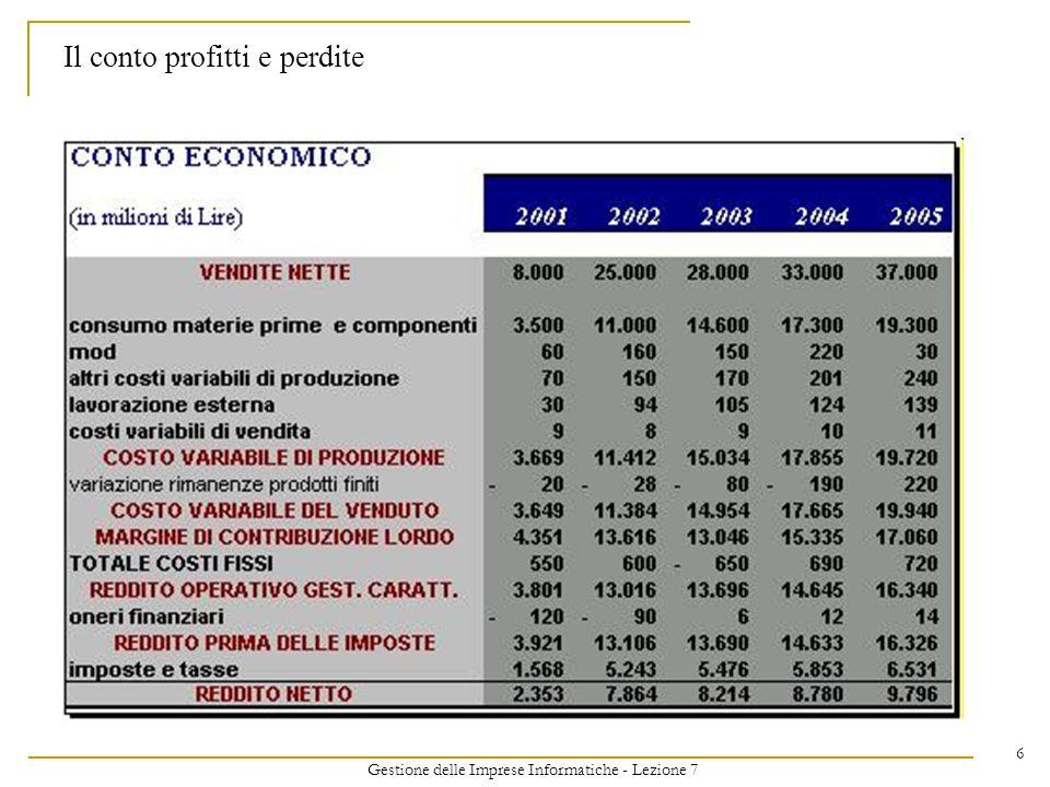 Gestione delle Imprese Informatiche - Lezione 7 47 La seconda segmentazione I Ricavi hanno la stessa granularità dei costi.