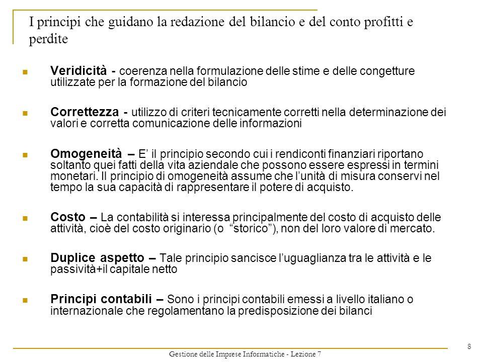 Gestione delle Imprese Informatiche - Lezione 7 8 I principi che guidano la redazione del bilancio e del conto profitti e perdite Veridicità - coerenz