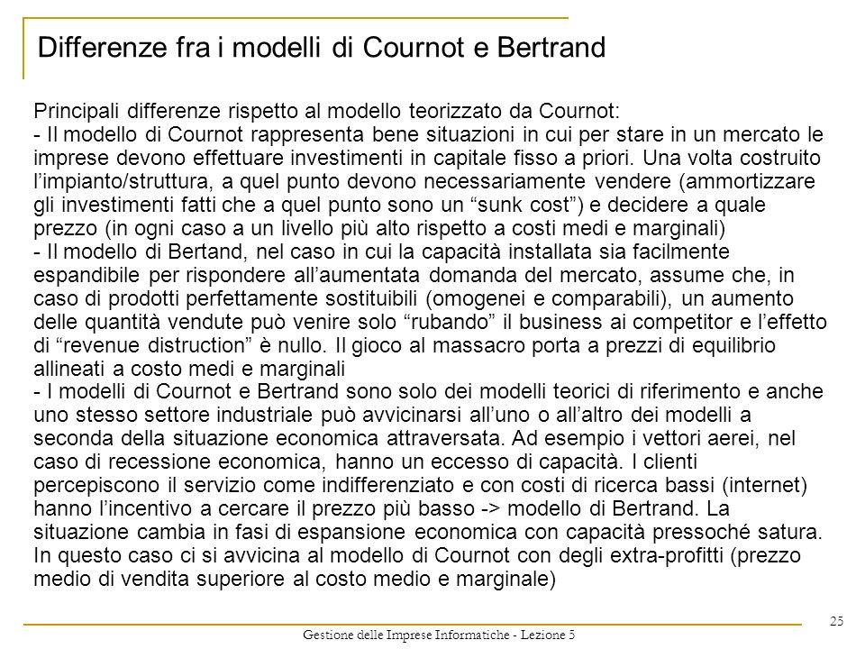 Gestione delle Imprese Informatiche - Lezione 5 25 Principali differenze rispetto al modello teorizzato da Cournot: - Il modello di Cournot rappresent