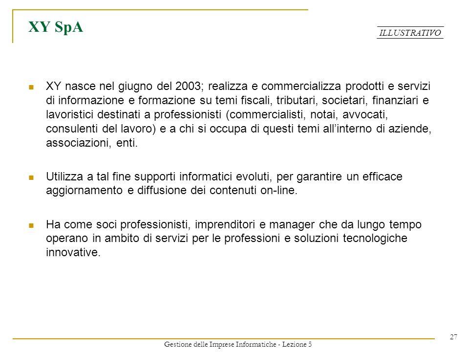 Gestione delle Imprese Informatiche - Lezione 5 27 XY SpA XY nasce nel giugno del 2003; realizza e commercializza prodotti e servizi di informazione e