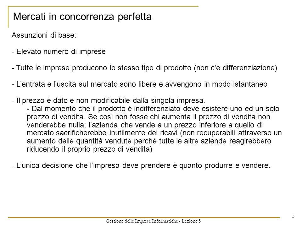 Gestione delle Imprese Informatiche - Lezione 5 3 Assunzioni di base: - Elevato numero di imprese - Tutte le imprese producono lo stesso tipo di prodo