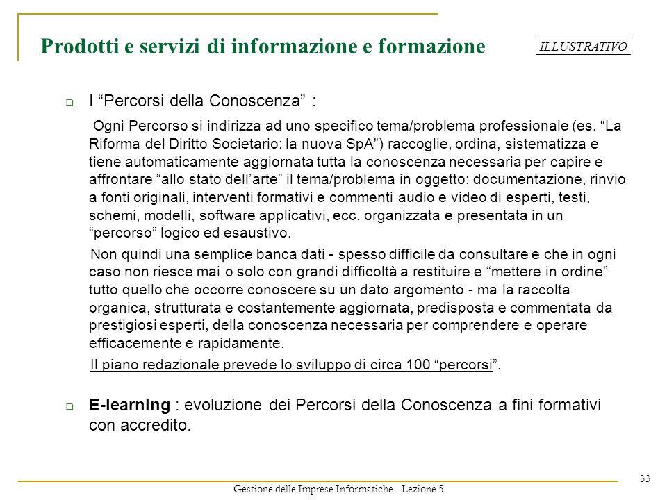 Gestione delle Imprese Informatiche - Lezione 5 33 I Percorsi della Conoscenza : Ogni Percorso si indirizza ad uno specifico tema/problema professiona