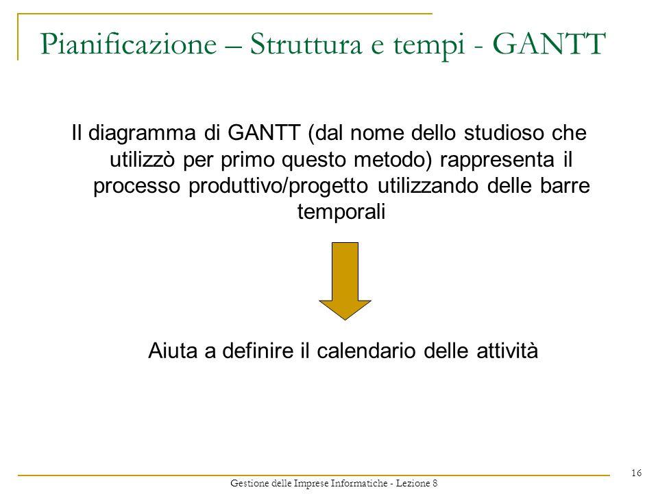 Gestione delle Imprese Informatiche - Lezione 8 16 Pianificazione – Struttura e tempi - GANTT Il diagramma di GANTT (dal nome dello studioso che utilizzò per primo questo metodo) rappresenta il processo produttivo/progetto utilizzando delle barre temporali Aiuta a definire il calendario delle attività