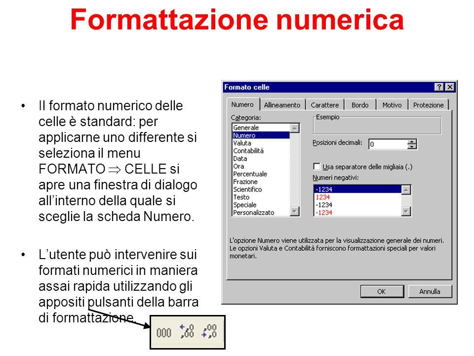 Formattazione numerica Il formato numerico delle celle è standard: per applicarne uno differente si seleziona il menu FORMATO CELLE si apre una finest