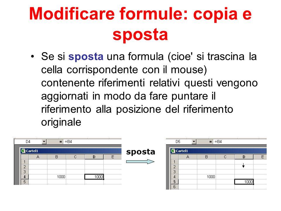 Modificare formule: copia e sposta Se si sposta una formula (cioe' si trascina la cella corrispondente con il mouse) contenente riferimenti relativi q
